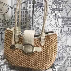 Brighton Bags - BRIGHTON Straw and White Patent Leather Purse